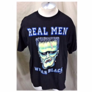 Vintage 1992 Frankenstein Real Men Wear Black (Large) Graphic Halloween T-Shirt (Main)