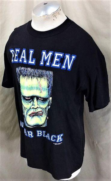 Vintage 1992 Frankenstein Real Men Wear Black (Large) Graphic Halloween T-Shirt (Side)