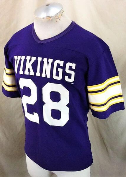 Vintage 80's Rawlings Ahmad Rashad #28 (Med) Minnesota Vikings Football Jersey (Side)