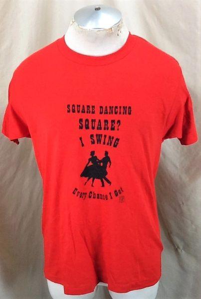 Vintage 80's Square Dancing Square (L-XL) Retro Single Stitch Thin Graphic T-Shirt (Front)