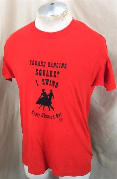 Vintage 80's Square Dancing Square (L-XL) Retro Single Stitch Thin Graphic T-Shirt (Side)