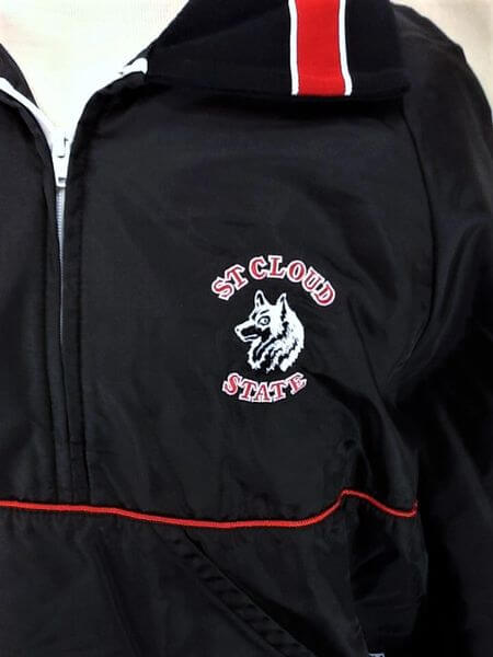 Vintage 80's St Cloud State Huskies (XL) Pullover Half Zip Up Insulated Jacket (Logo)