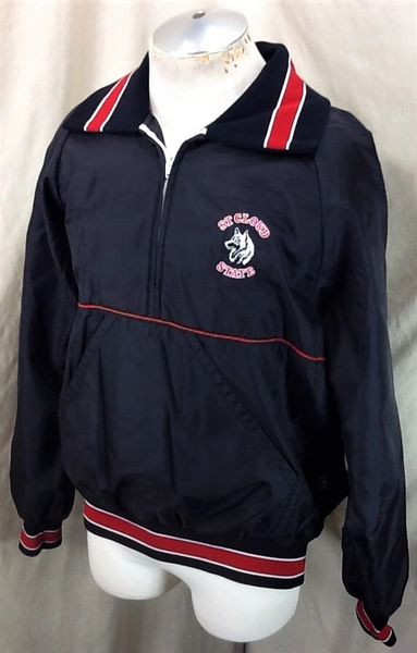 Vintage 80's St Cloud State Huskies (XL) Pullover Half Zip Up Insulated Jacket (Side)