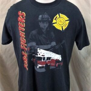 Vintage 90's Emergency Rescue 911 (Large) Firefighters Retro Single Stitch T-Shirt (Front)