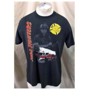 Vintage 90's Emergency Rescue 911 (Large) Firefighters Retro Single Stitch T-Shirt (Main)