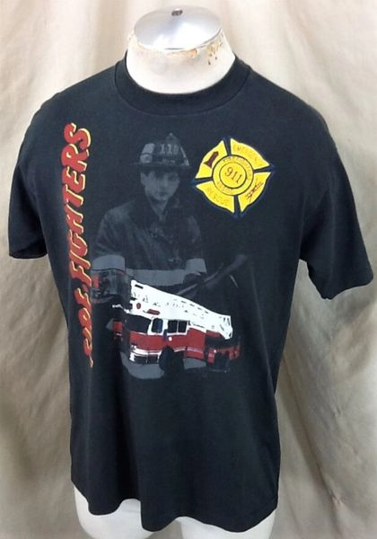 Vintage 90's Emergency Rescue 911 (Large) Firefighters Retro Single Stitch T-Shirt (Side)