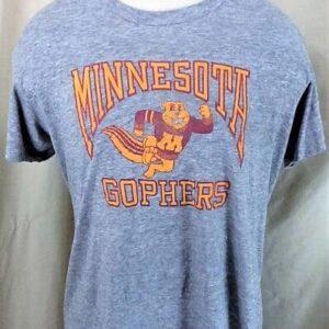 Vintage 90's Logo 7 Minnesota Gophers (L-XL) Retro NCAA Ultra Thin Rayon Gray T-Shirt (Front)