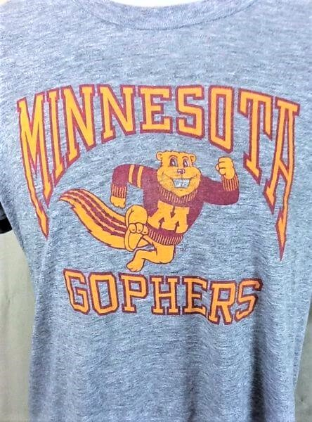 Vintage 90's Logo 7 Minnesota Gophers (L-XL) Retro NCAA Ultra Thin Rayon Gray T-Shirt (Graphics)