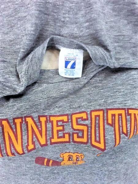 Vintage 90's Logo 7 Minnesota Gophers (L-XL) Retro NCAA Ultra Thin Rayon Gray T-Shirt (Tag)