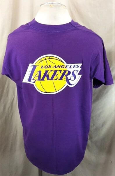 Vintage 90's Los Angeles Lakers Classic Logo (XL) NBA Basketball Graphic T-Shirt (Back)
