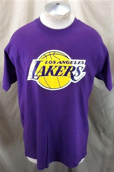 Vintage 90's Los Angeles Lakers Classic Logo (XL) NBA Basketball Graphic T-Shirt (Front)