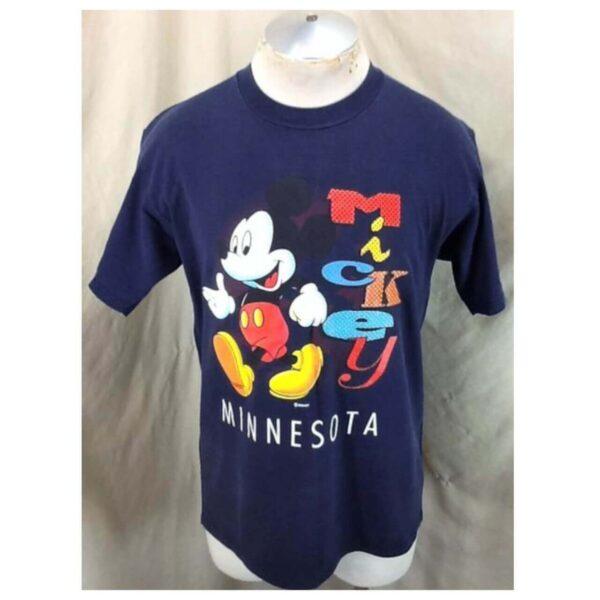 Vintage 90's Mickey Mouse Minnesota (Large) Disney Tourism Graphic T-Shirt (Main)