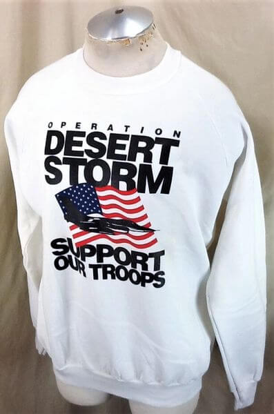 Vintage 90's Operation Desert Storm (XL) Support Our Troops Crew Neck Sweatshirt (Side)