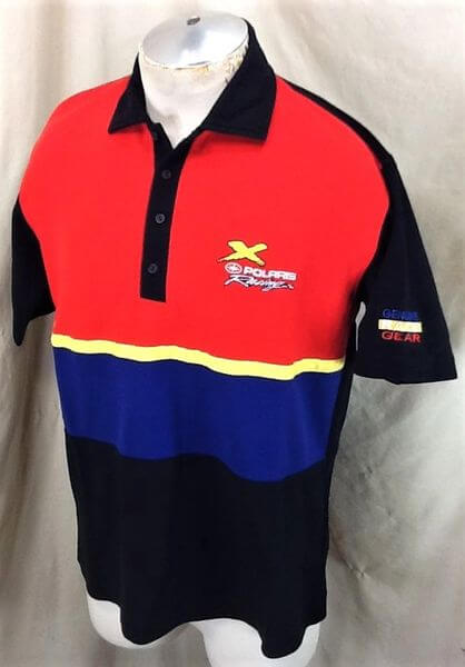 Vintage 90's Polaris Racing Genuine Race Gear (Large) Gear Heads Embroidered Polo Shirt (Side)