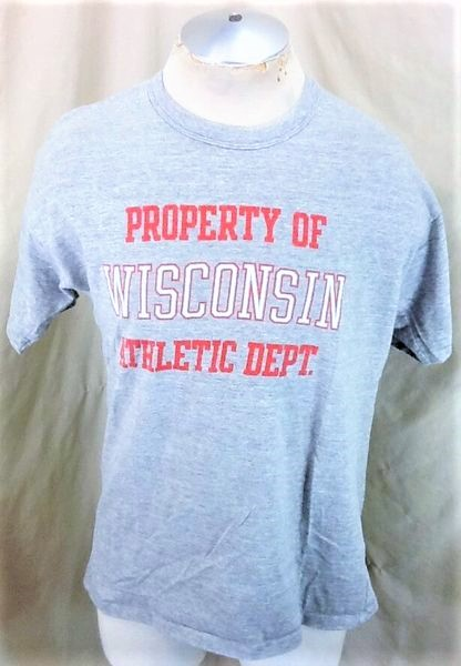 Vintage 90's Wisconsin Badgers Athletics (L-XL) Single Stitch Graphic Rayon Shirt (Front)