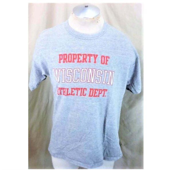 Vintage 90's Wisconsin Badgers Athletics (L-XL) Single Stitch Graphic Rayon Shirt (Main)