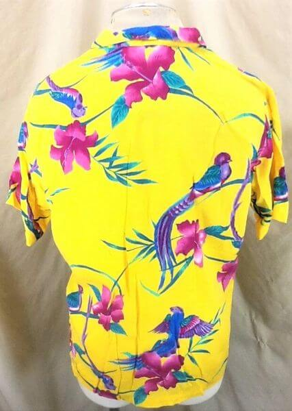Vintage Big Sur California Floral Print (Large) Retro Button Up Yellow Hawaiian Shirt (Back)