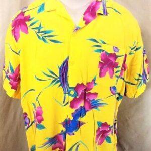 Vintage Big Sur California Floral Print (Large) Retro Button Up Yellow Hawaiian Shirt (Front)