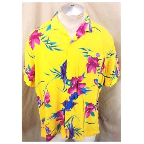 Vintage Big Sur California Floral Print (Large) Retro Button Up Yellow Hawaiian Shirt (Main)