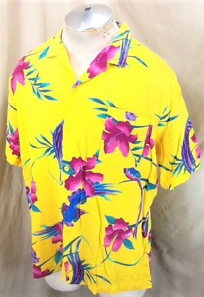 Vintage Big Sur California Floral Print (Large) Retro Button Up Yellow Hawaiian Shirt (Side)