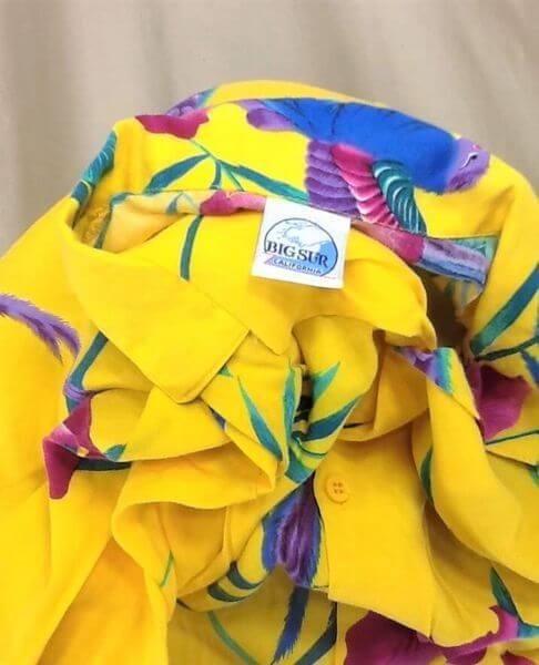 Vintage Big Sur California Floral Print (Large) Retro Button Up Yellow Hawaiian Shirt (Tag)