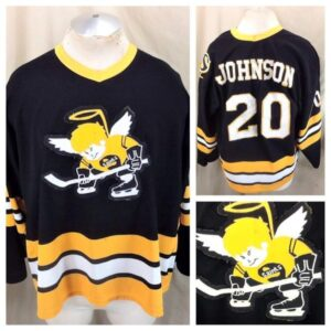 Vintage Minnesota Fighting Saints Jim Johnson #20 (XL) WHA Hockey Alternative Black Jersey (Main)