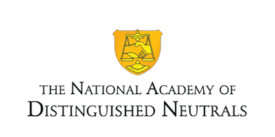 Logo of the national academy of distinguished neutrals - a yellow set of scales on a mustard yellow shield