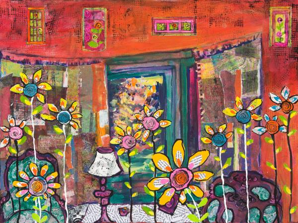 A painting of an orange room with strange and fanciful flowers.