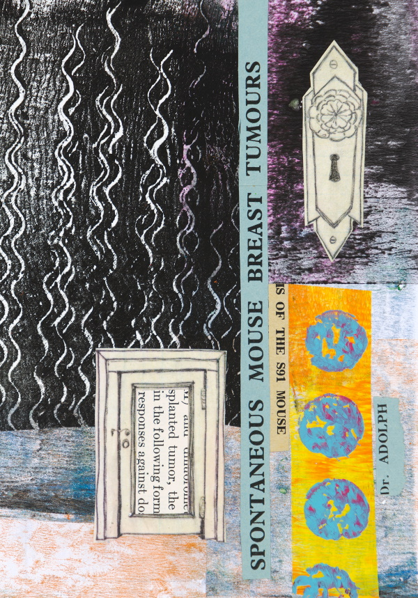 A collage made with a Gelli Plate and acrylic paint.