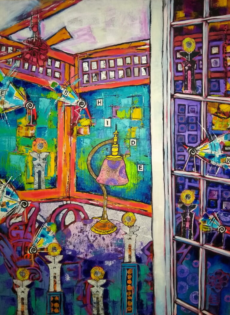 A painting of a porch with many windows, birds, and fanciful things.
