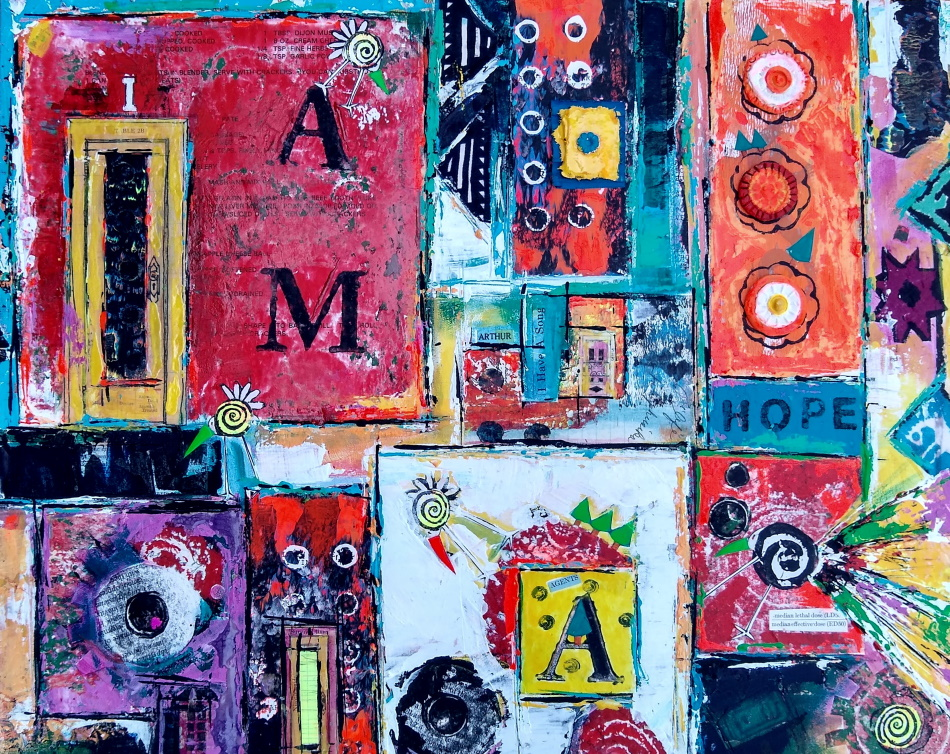 """This is a colorful collage with the words """"I am hope"""" in it."""