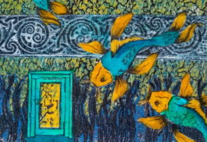 A painting of Koi fish and a small door.