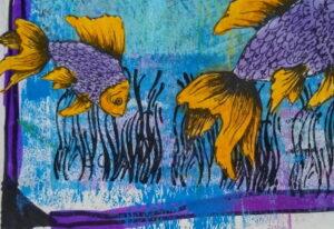 Painting of a small fish following a big fish.
