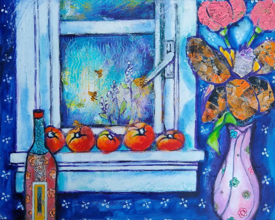 This is a painting of a window with a row of tomatoes ripening on its sill with bees buzzing about them. A window is in the background.