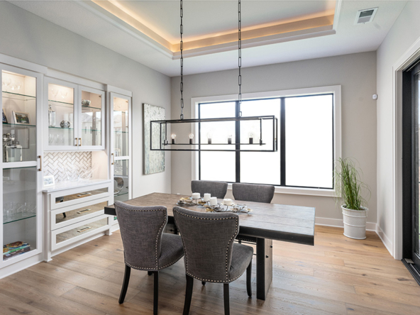the del mar dining room with built in shelves