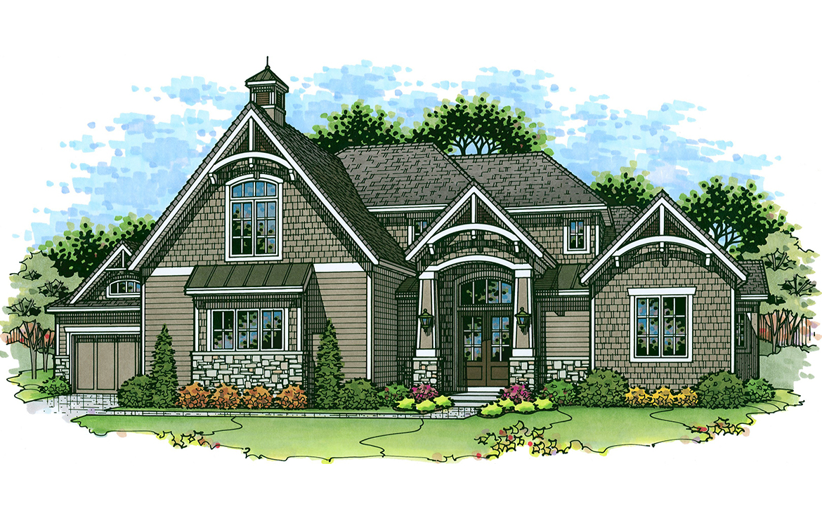 the brentwood luxury custom home exterior watercolor