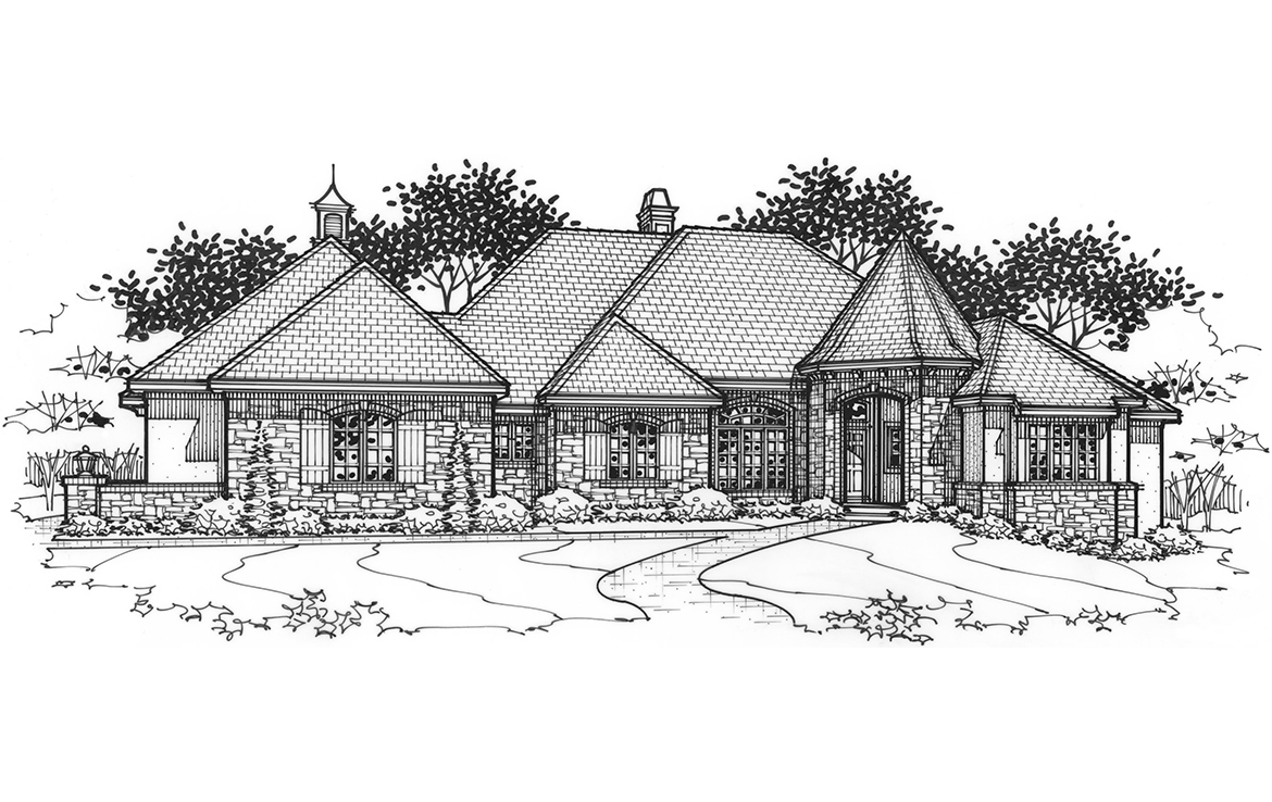 the brittany luxury custom home exterior rendering