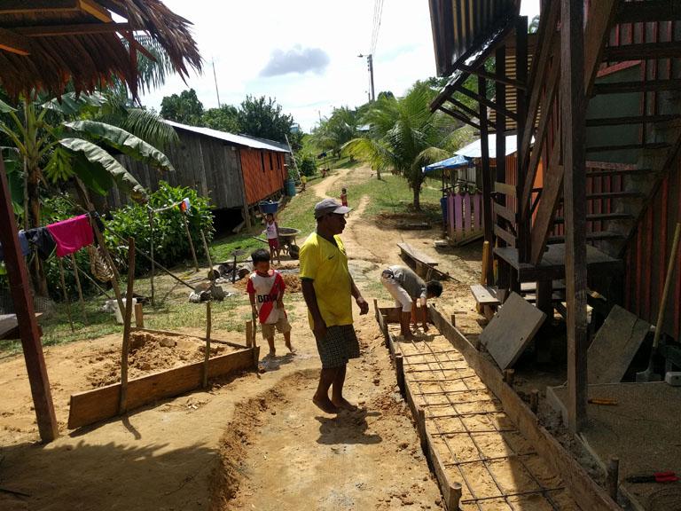 constructing a concrete walkway