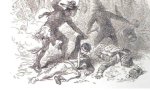 Artist's rendering of Dudley's Massacre on May 5, 1813