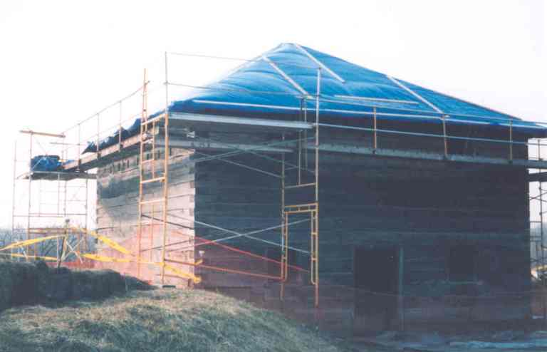 Blockhouse #1 gets a new roof.