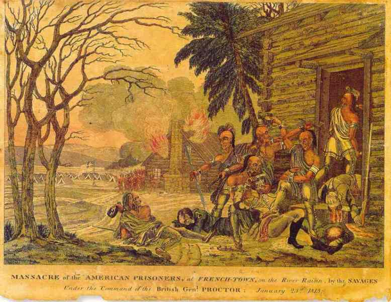 Massacre of American prisoners at Frenchtown on the River Raisin. American recruiting broadside. Artist unknown.