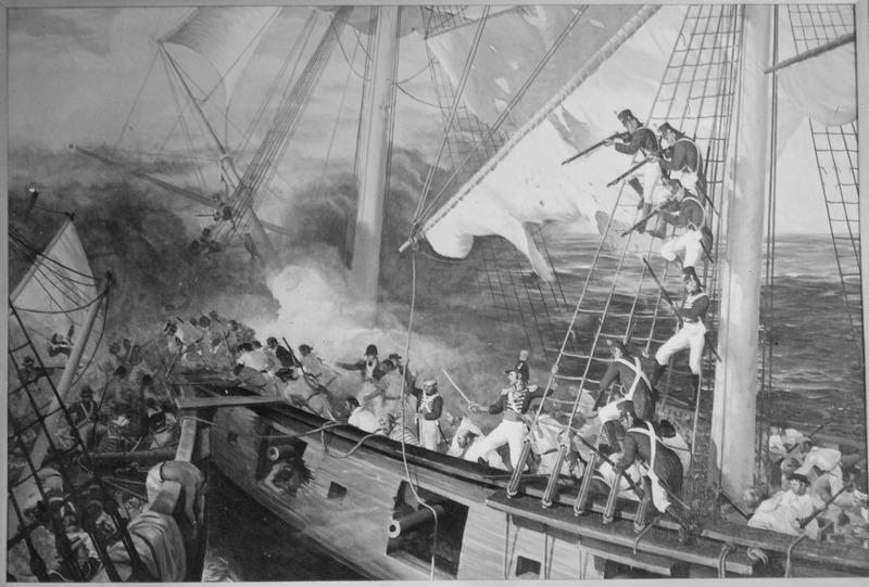Marines aboard USS Wasp engage HMS Reindeer - June 1814. Copy of painting by Sergeant John Clymer.