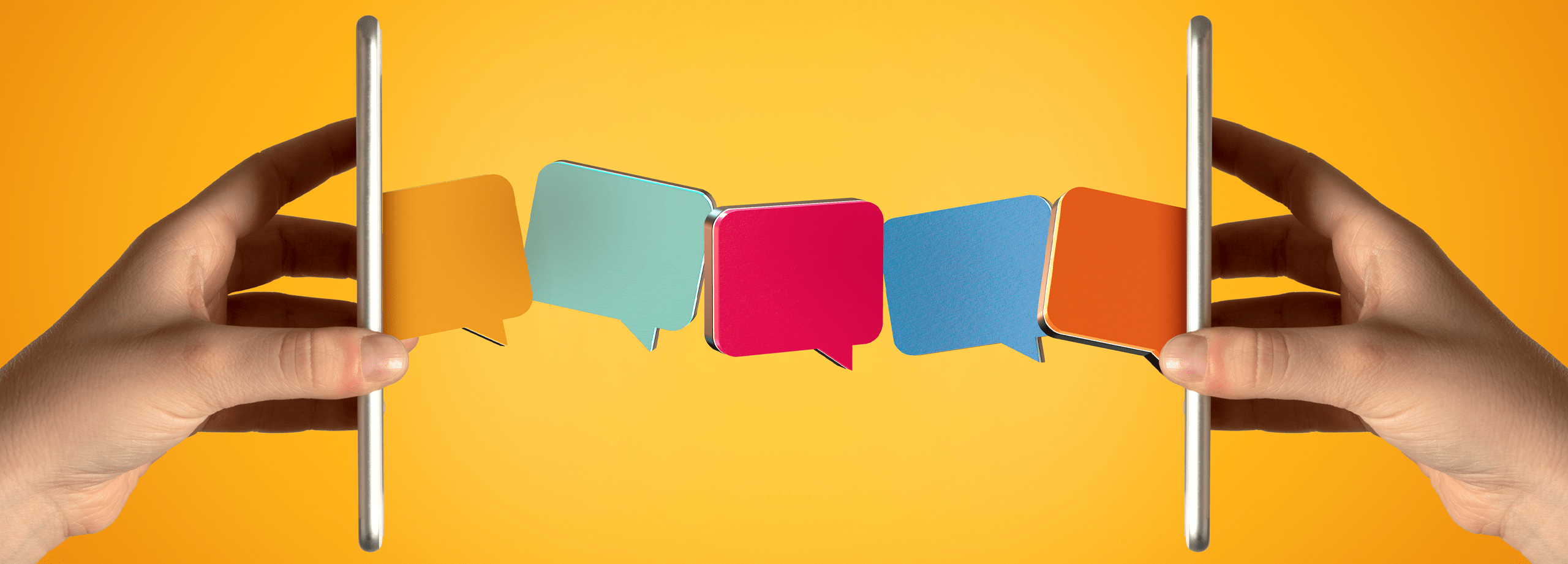 photo of speech bubbles traveling from one phone to another to indicate contacting us