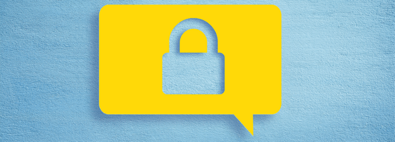 Photo of a speech bubble with a padlock in it indicating privacy