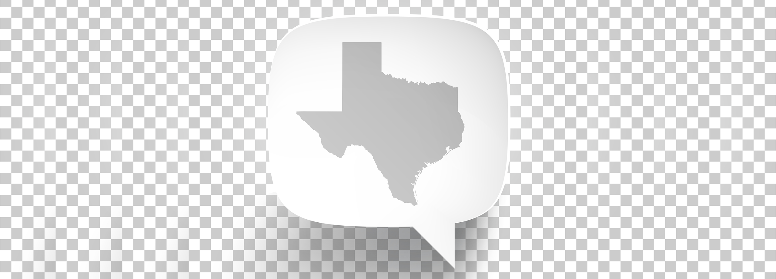 Photo of a speech bubble with the state of Texas in it.