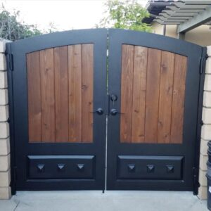 Wood Gate brown and black iron tall double door