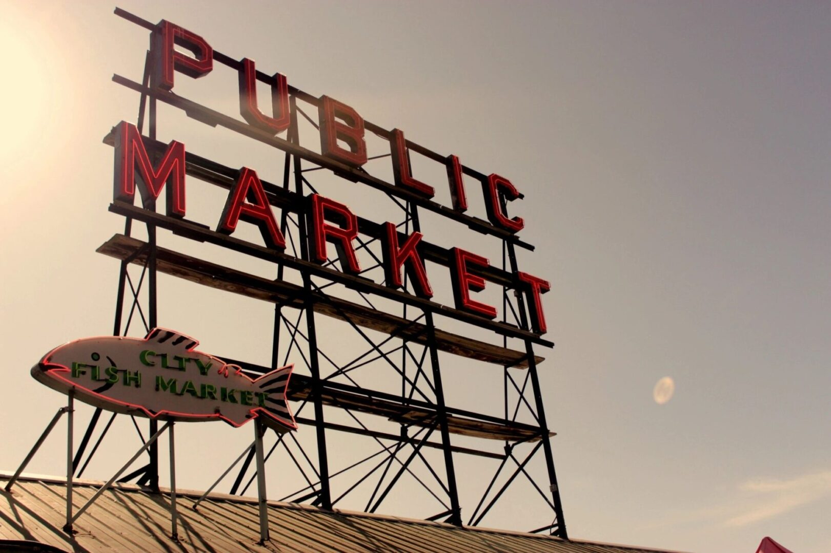 Public Market sign with purple and pink sky