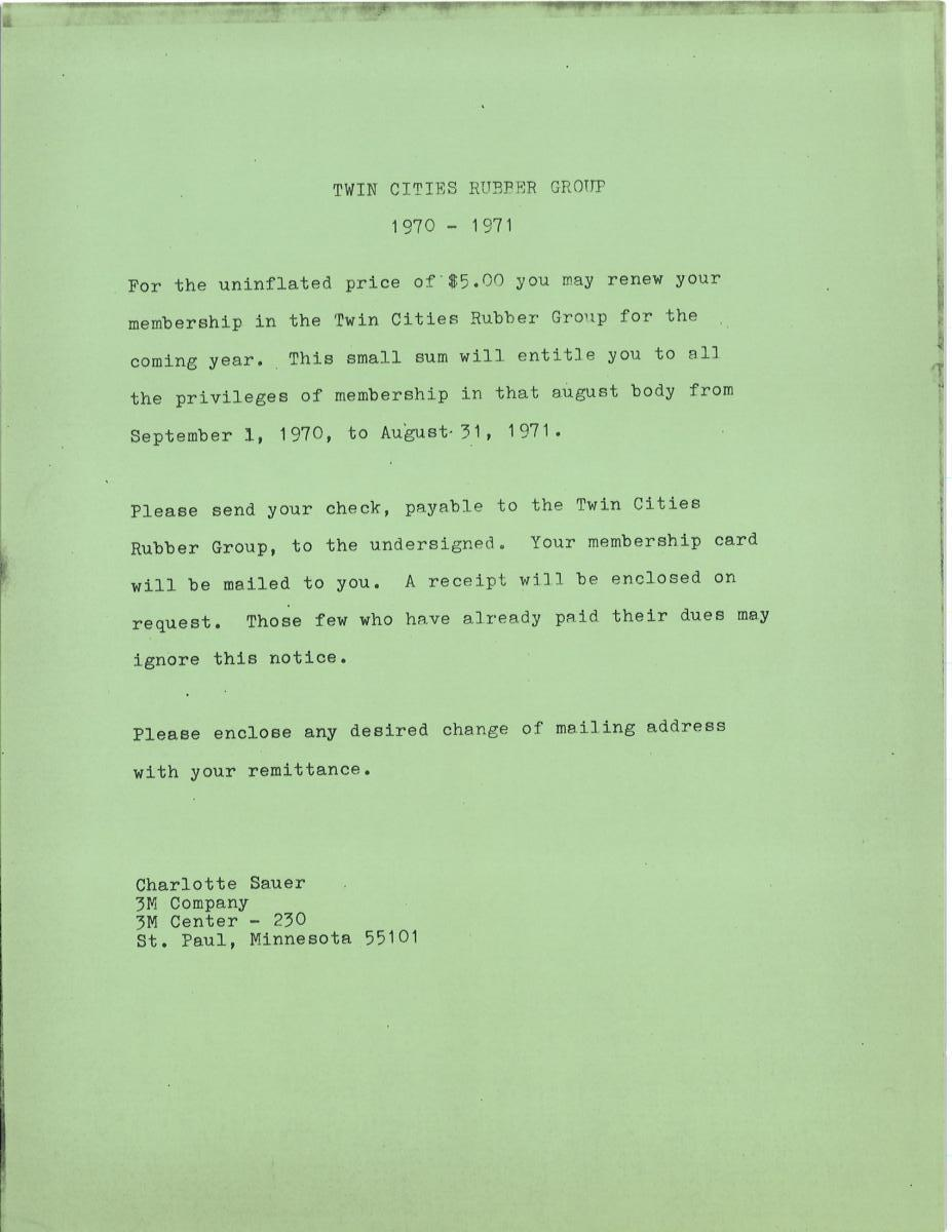 TCRG Membership letter 1970