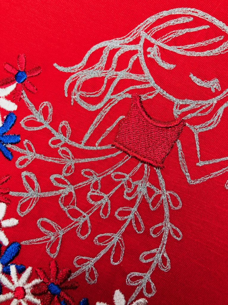 July 4 machine embroidery detail shot
