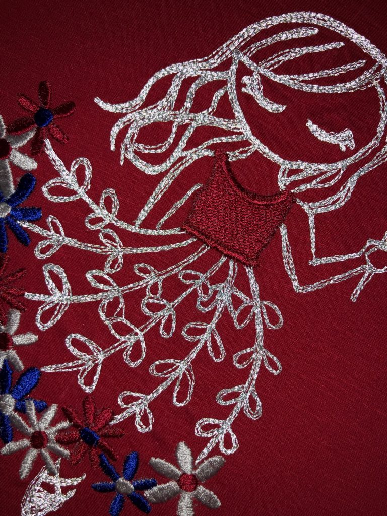 July 4 reflective machine embroidery side view